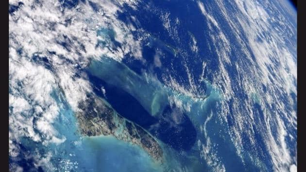 The image shows Andros Island, the largest island in the Bahamas from space.(Instagram/@nasa)