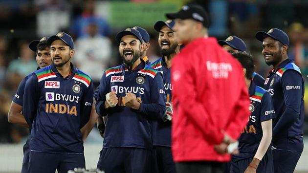 Player of the Indian cricket team celebrate after Glenn Maxwell is given out.(Getty Images)