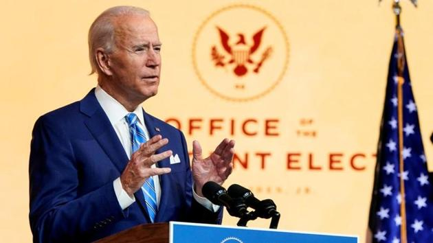 US President-elect Joe Biden delivers a pre-Thanksgiving speech at his transition headquarters in Wilmington, Delaware, US.(Reuters/ File photo)