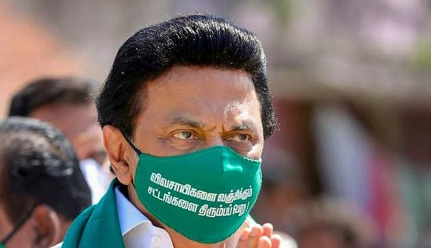 DMK President MK Stalin during a demonstration launched by the party against the agricultural reform bills, in Keezhambi village of Kanchipuram district,(PTI)