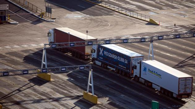 Haulage trucks parked before boarding a cross channel ferry at the Port of Dover Ltd. in Dover, UK on Friday.(Bloomberg Photo)