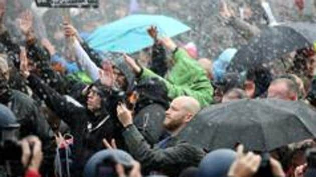 Last month, German police unleashed water cannon and pepper spray in an effort to scatter thousands of protesters in Berlin angry about coronavirus restrictions.(Reuters)