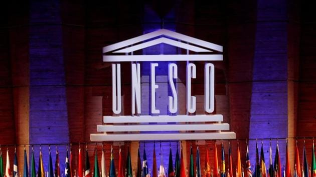 The UNESCO logo is seen during the opening of the 39th session of the General Conference of the United Nations Educational, Scientific and Cultural Organization (UNESCO) at their headquarters in Paris, France.(Reuters/ File photo)