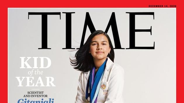 "This undated photo provided by Time Magazine shows the cover of its December 14, 2020, issue, featuring a 15-year-old Colorado high school student and young scientist who has been named the magazine's first-ever ""Kid of the Year.""(AP Photo)"