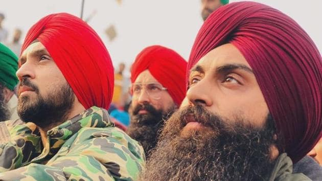 Diljit Dosanjh at the farmers' protest at the Singhu border.