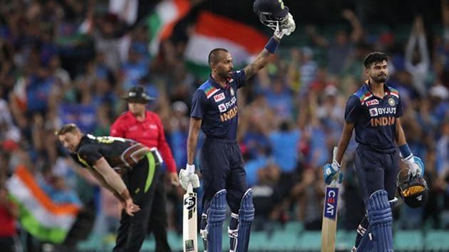 Hardik Pandya celebrates after hitting the winning runs for India.(Getty Images)