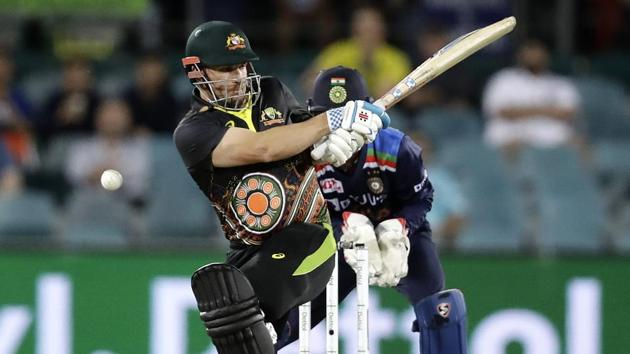 Australia's Aaron Finch bats against India during their T20 international cricket match at Manuka Oval, in Canberra, Australia.(AP)