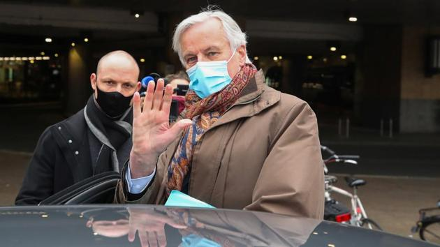 EU chief Brexit negotiator Michel Barnier arrives at Brussels-South railway station returning from London, in Brussels, Belgium December 5, 2020.(Reuters File Photo)