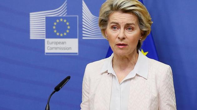 European Commission President Ursula von der Leyen gives a statement regarding Brexit talks at the European Commission in Brussels, Belgium December 5, 2020.(Reuters photo)