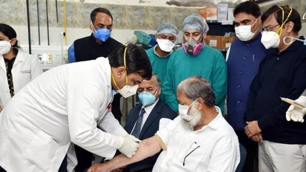 Haryana health minister Anil Vij undergoing the final trial of the Covid-19 vaccine at Civil Hospital, Ambala Cantonment.