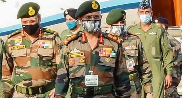 Army chief Manoj Mukund Naravane reviews the security and operational preparedness of Kharga Corps, at Ambala cantonment.(PTI/ File photo)