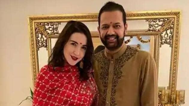 Rahul Mahajan with wife Natalya.