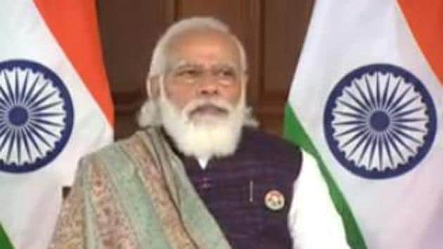 PM Narendra Modi attending the Agra Metro project inauguration virtually on Monday.(Narendra Modi/YouTube screengrab)