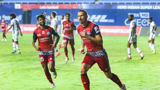 Nerijus Valskis of Jamshedpur FC celebrates his goal during a match.(PTI)