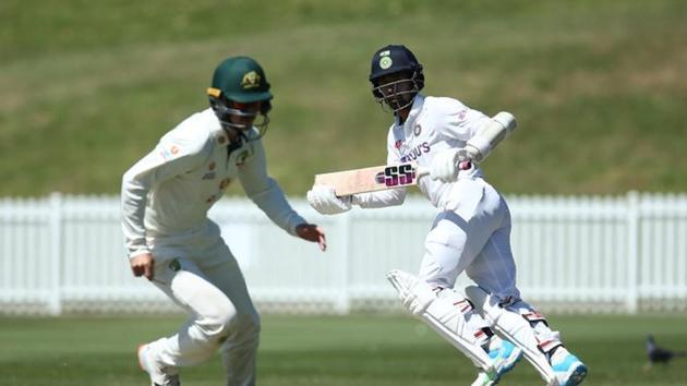 Indian wicketkeeper-batsman Wriddhiman Saha playing a shot at India A vs Australia A practice match(BCCI/Twitter)