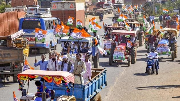Left supporters along with workers of the ruling Jharkhand Mukti Morcha, Congress and Rashtriya Janata Dal held demonstrations and protests in several cities and towns across the state.(PTI (Representative Image))