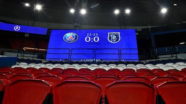 Score board is seen as Paris Saint Germain and Medipol Basaksehir UEFA Champions League match paused after Basaksehir head to locker room for alleged racist remarks by 4th official to assistant manager Webo.(Getty Images)
