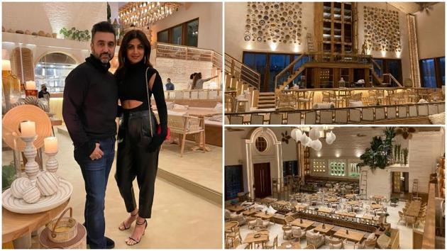 Shilpa Shetty and Raj Kundra at their restaurant.