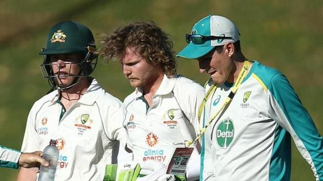 Photo of Australian batsman Will Pucovski after getting hit on the helmet during practice match against India A(Twitter)
