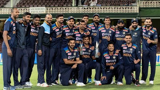 A victorious Indian team after winning the T20 series.(Getty Images)
