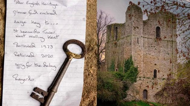The image shows the key and the apology note sent by an anonymous person.(Twitter@EnglishHeritage)