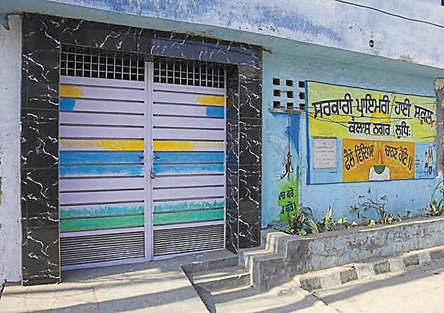 Three teachers of Government High School, Kailash Nagar, tested positive on Wednesday.(Harsimar Pal Singh/HT)