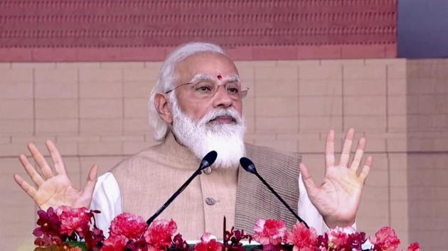 Prime Minister Narendra Modi speaks at the foundation stone laying ceremony of new Parliament building, in New Delhi on Thursday, December 10.(PTI)