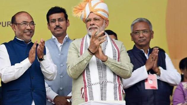 N Biren Singh cited Prime Minister Narendra Modi's assurance to assuage farmers' concerns over the MSP regime. )(PTI Photo)