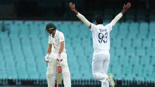 Jasprit Bumrah celebrates the dismissal of Joe Burns in the warm-up match against Australia A.(Twitter/cricket.com.au)