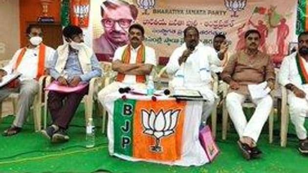 The state executive committee of the BJP discussed the strategy to be adopted by the party in the by-elections to Tirupati seat. The party also organised a Shobha Yatra in Tirupati town in the evening to put up a big show. (Photo@somuveerraju)