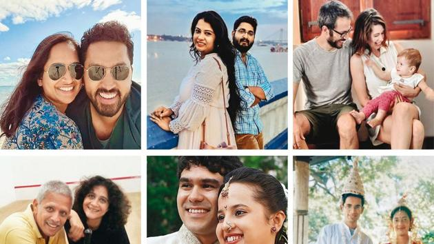 (Clockwise from top left) Gayatri, a Tamil Brahmin and Milan, a Mallu Christian married each other after a decade-long wait; Saheli Maity and Yogesh talk about overcoming their personal differences in their story; Kalki and her partner, Guy Hershberg share their cross-country love story; Sudipa and Tridip Mandal, an inter-caste couple, narrate their secret wedding; Alisha and Abhiraj Purandare's tale is about embracing each other's religious customs; and Sreeya Sen and Vikram D'Souza speak about overcoming an unconventional age gap with their tale!