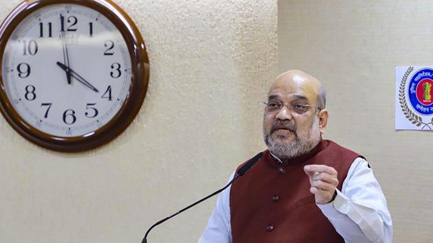 Union Home Minister Amit Shah met cops and security officials on Friday.(PTI)