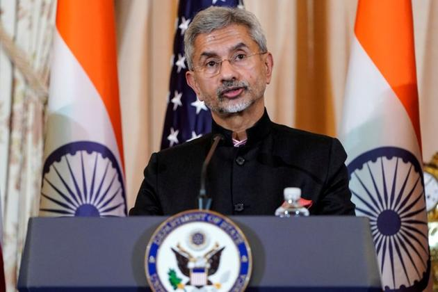 Indian foreign minister S Jaishankar speaks to the media after the 2019 US-India 2+2 ministerial dialogue at the State Department in Washington in December 2019.(REUTERS FILE)