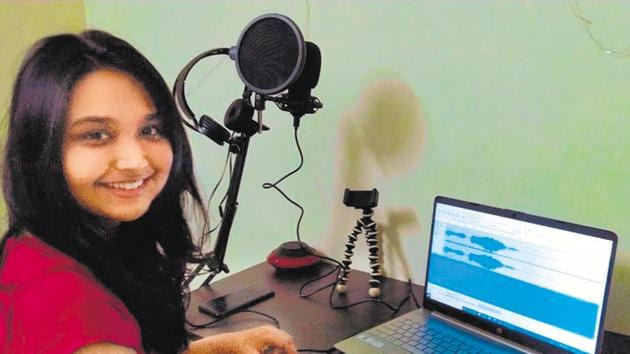 Dr Anmon Bhargava has set up a recording studio in her hostel room to record songs.(HT)