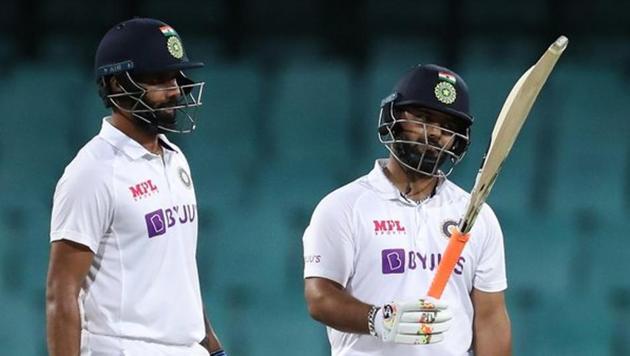 Hanuma Vihari and Rishabh Pant on Day 2 of the warm-up match against Australia A(BCCI/Twitter)