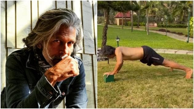 Milind Soman shows a new way to do push-ups(Instagram/milindrunning)