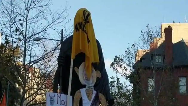 Khalistani separatists draped their flag around the statue of Mahatma Gandhi in front of the Indian Embassy in Washington on Saturday(ANI (screengrab))