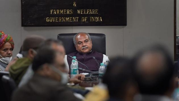 A delegation of Haryana farmers during their meeting with Union Agriculture Minister Narendra Singh Tomar in support to the Centre's three farm laws, in New Delhi.(PTI)