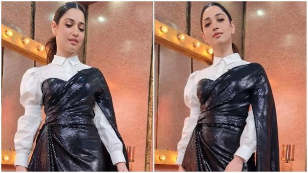 Tamannaah looks like a dream in sequined drape dress worth Rs 32k(Instagram/tamannaahspeaks)