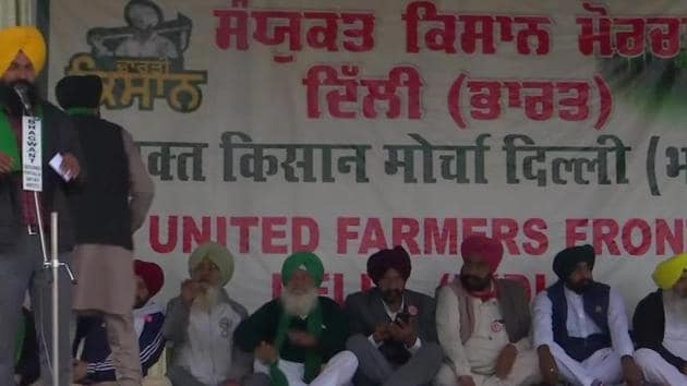Farmers sitting on a hunger strike at Singhu border near Delhi on Monday.(ANI Photo)