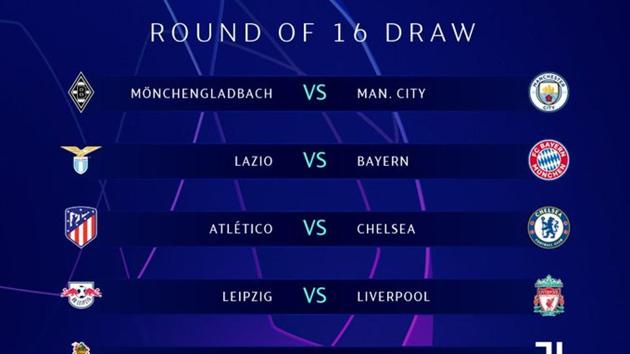 The draw for UEFA Champions League Round of 16 matches.(Twitter/UEFA Champions League)