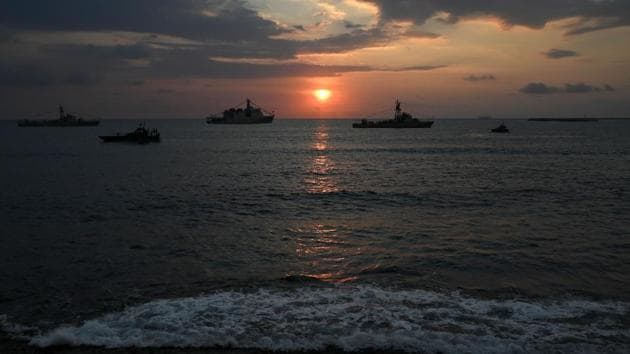 Sri Lankan navy vessels along the sea front at Galle Face promenade in Colombo on December 9, 2020. Image used for representational purpose only.(AFP)