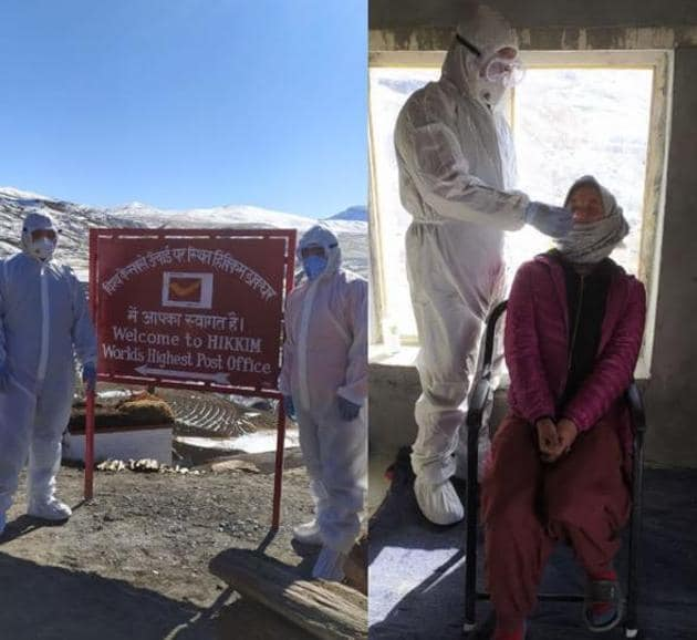 The Himachal Pradesh government has sent a health team to conduct random sampling in the three sparsely populated villages of Hikkim (in pic), Langza and Comic in the mountains of Spiti.(HT Photos)