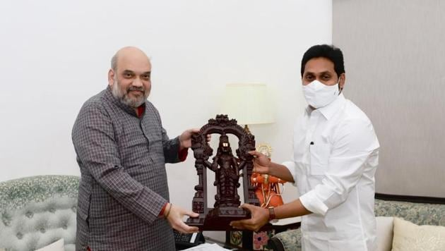 Andhra Pradesh chief minister YS Jagan Mohan Reddy meets Union home minister Amit Shah in New Delhi.