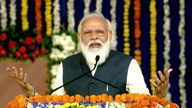 PM Modi was addressing the public after laying the foundation stone for a desalination plant and a milk processing and packaging plant in Gujarat's Kutch.(Photo: BJP4India/ Twitter)