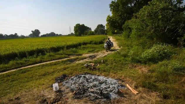 A view of the spot where the body of the victim was cremated in Bool Garhi, Hathras, Uttar Pradesh, India, on Saturday, October 3, 2020.(Amal KS/HT Photo)