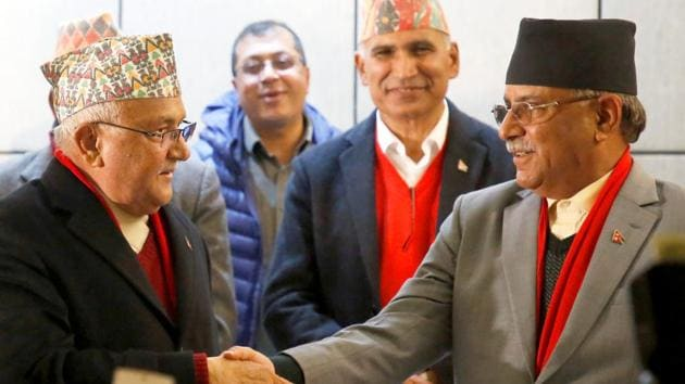 Face-off: Prime Minister Khadga Prasad Sharma Oli, also known as KP Oli, is headed for a showdown with Pushpa Kamal Dahal, also known as Prachanda.(REUTERS)