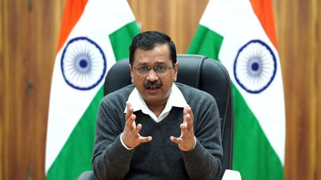 Delhi Chief Minister Arvind Kejriwal addresses at a press conference in New Delhi.(ANI)