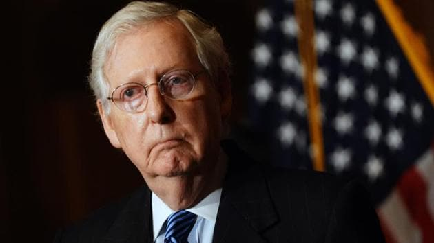 A file photo of US Senate Majority Leader Mitch McConnell in the US Capitol in Washington, DC.(AFP/ FILE)