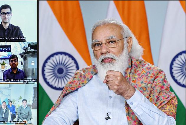 Prime Minister Narendra Modi interacts with industries, startups, and academia from the space sector via video conference, in New Delhi, on December 14.(PTI)